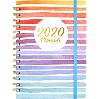 """2020 Planner - Weekly & Monthly Planner with Tabs, 6.3"""" x 8.4"""", Hardcover with Back Pocket + Thick Paper + Banded, Twin-Wire Binding - Colorful and Fun"""