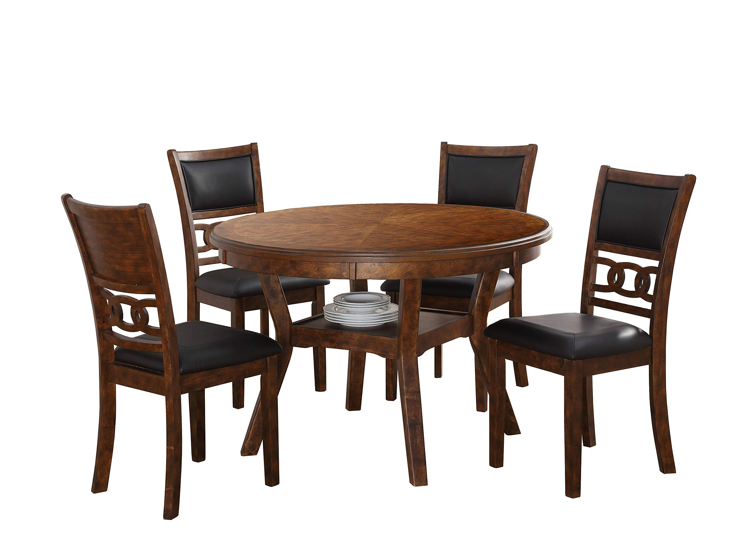 New Classic Furniture D1701 Gia Round Dining Set, 5 Piece, Brown by New Classic Furniture