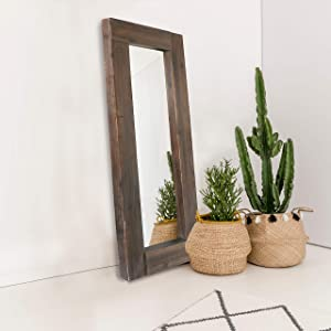 "Barnyard Designs Decorative Long Wall Hanging Mirror Rustic Vintage Farmhouse Unfinished Wood Mirror Wall Decor 58"" x 24"""