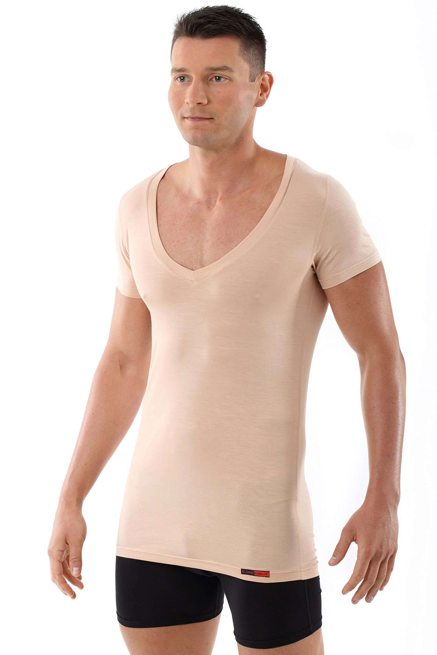 ALBERT KREUZ men's invisible deep V-neck business undershirt with short sleeves of breathable Micromodal Light nude beige XXL