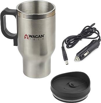 12V Electric Heated Travel Mug Stainless Steel Coffee Tea Cup Warmer US