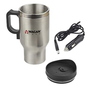 Wagan EL6100 7.90in. x 5.10in. x 3.70in. 12V Stainless Steel 16 oz Heated Travel Mug with Anti-Spill Lid