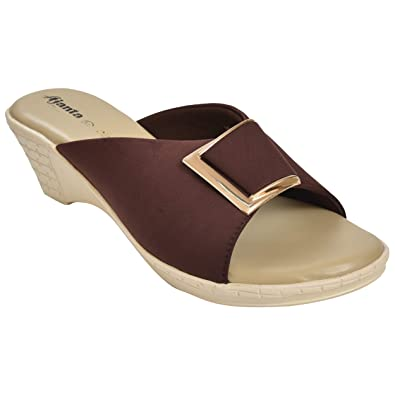 80821bf45 Ajanta Women s Brown   Beige Synthetic Leather Sandal - 8 UK  Buy ...