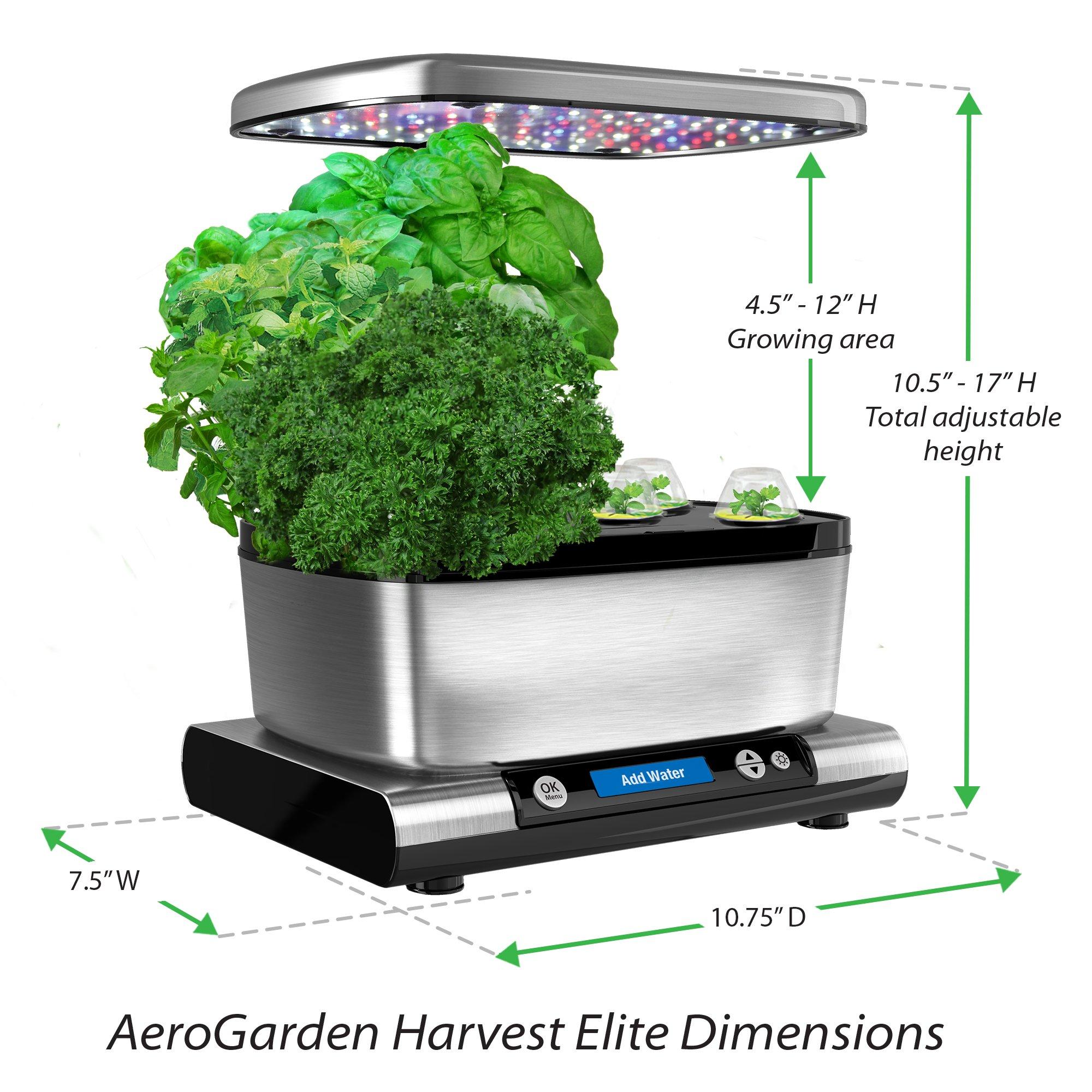 AeroGarden Harvest Elite with Gourmet Herb Seed Pod Kit, Stainless Steel by AeroGrow (Image #5)