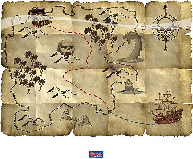 Folat B.V.- Folat Mapa del Tesoro Pirata Rojo, Color (7659): Amazon.es: Juguetes y juegos