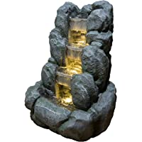 Zen' Light Nature Rocky Fuente, Resina, Gris, 24 x
