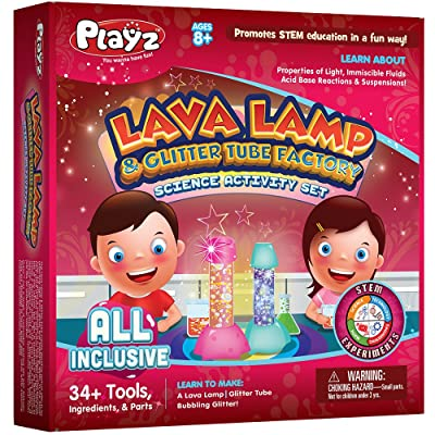 Playz Lava Lamp & Glitter Tube Arts and Craft Science Activity Set - 34+ Tools to Make a Lava Lamp, Glitter Tube, Bubbling Glitter & More for Girls, Boys, Teenagers, & Kids Age 8+: Toys & Games