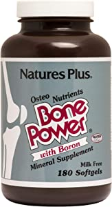 NaturesPlus Bone Power with Boron - 1000 mg Calcium, 180 Softgels - Bone & Joint Support Supplement, Liquid Calcium for Maximum Absorption - Milk Free, Gluten-Free - 45 Servings