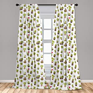 Ambesonne Cactus Curtains, Home and Garden Cactus Plants with Flowers Spiny Succulents Arizona Desert Growth, Window Treatments 2 Panel Set for Living Room Bedroom Decor, 56