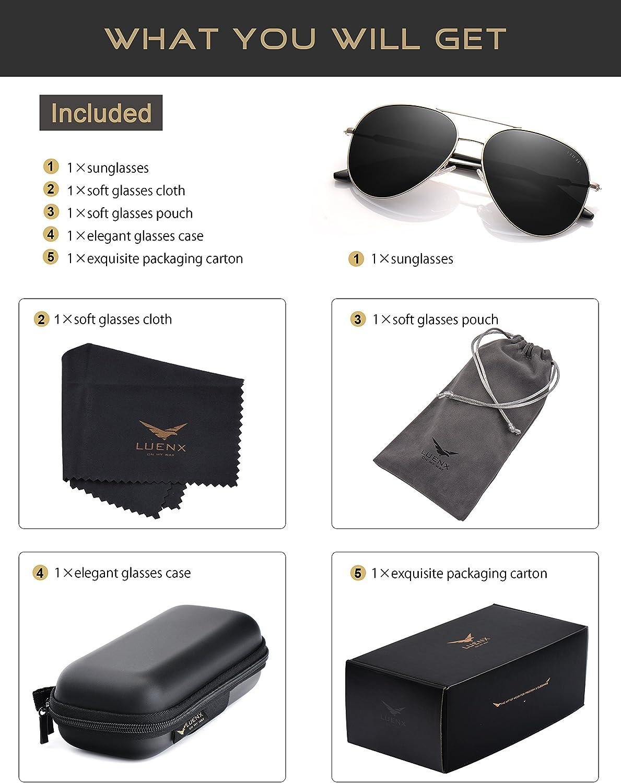 LUENX Uomo occhiali da sole Aviatore Polarizzate di guida con il caso