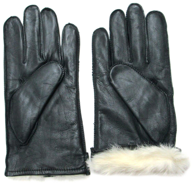 Fownes Men\'s Rabbit Fur Lined Black Napa Leather Gloves-Large FA38PCMR-L