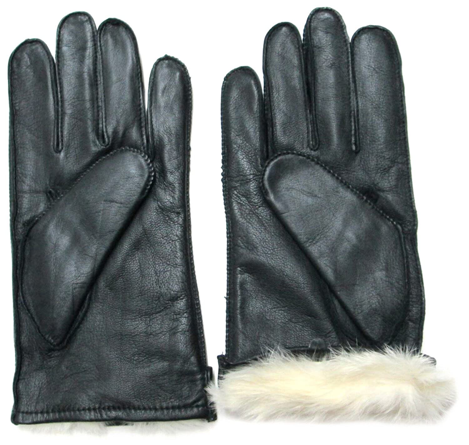 aad985058 FOWNES Men's Rabbit Fur Lined Black Napa Leather Gloves at Amazon Men's  Clothing store: