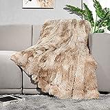 "Lvylov Decorative Soft Fluffy Faux Fur Throw Blanket 50"" x 60"",Reversible Long Shaggy Cozy Furry Blanket,Comfy Microfiber Acc"