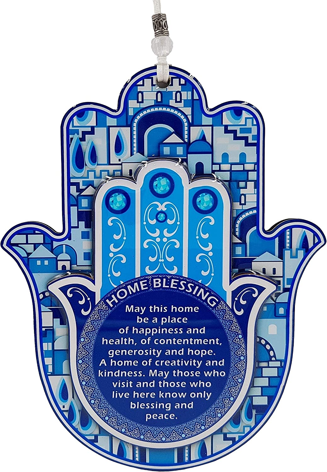 TALISMAN4U Hamsa Hand Wall Decor Home Blessing Jerusalem Blue Oriental Design Evil Eye Protection Amulet (English Blessing)