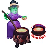 6 FT Halloween Inflatable Witch with Cauldron Inflatable with Projected 3D Fake Fire Light and Build-in LEDs Blow Up…