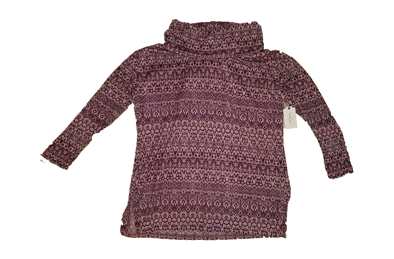 St John Bay Woodrose Geo Cowl Neck Sweater Purple