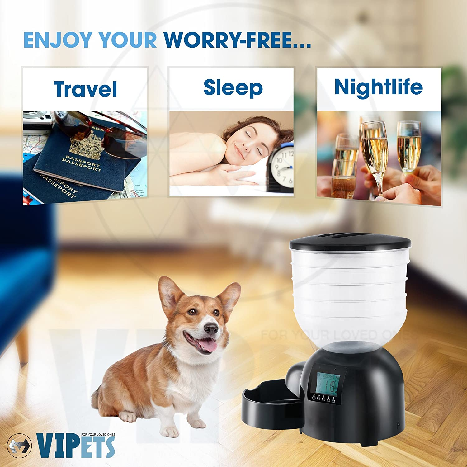 (Made for Medium to Big Dogs) Automatic Pet Feeder Food Dispenser w/10LB Storage, Dishwasher Safe Dog Bowl, Programmable Timer up 4 Meals/Day & Voice Recording (w/Power Cable) VIPets