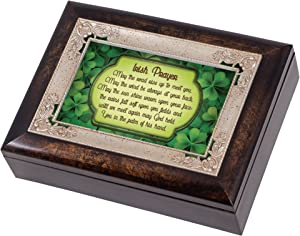 Irish Blessing Green Shamrocks Italian Design Jewelry Music Box Plays When Irish Eyes Smile
