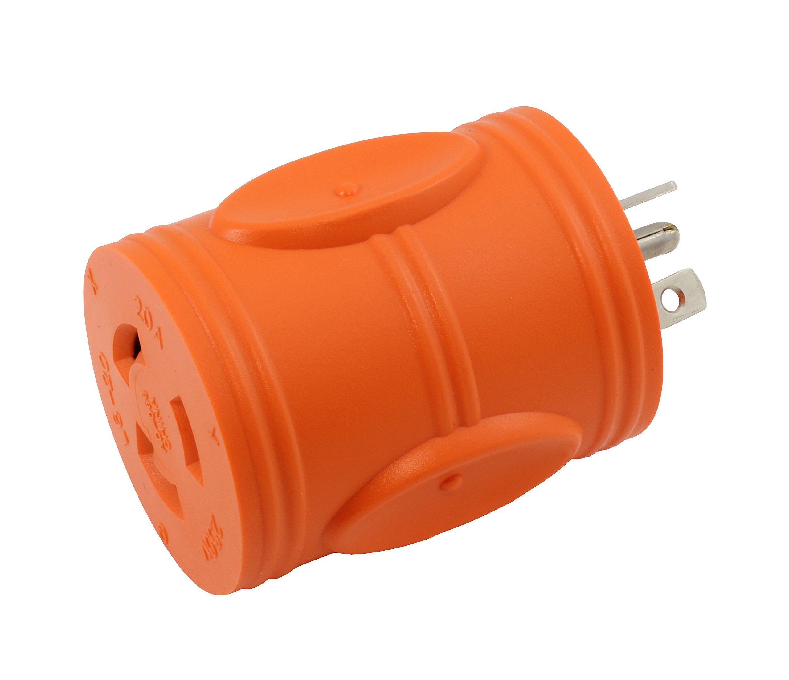 AC WORKS [AD620L620] Locking Adapter NEMA 6-20P 20Amp 250Volt Male Plug to NEMA L6-20R 20Amp 250Volt Locking Female Connector