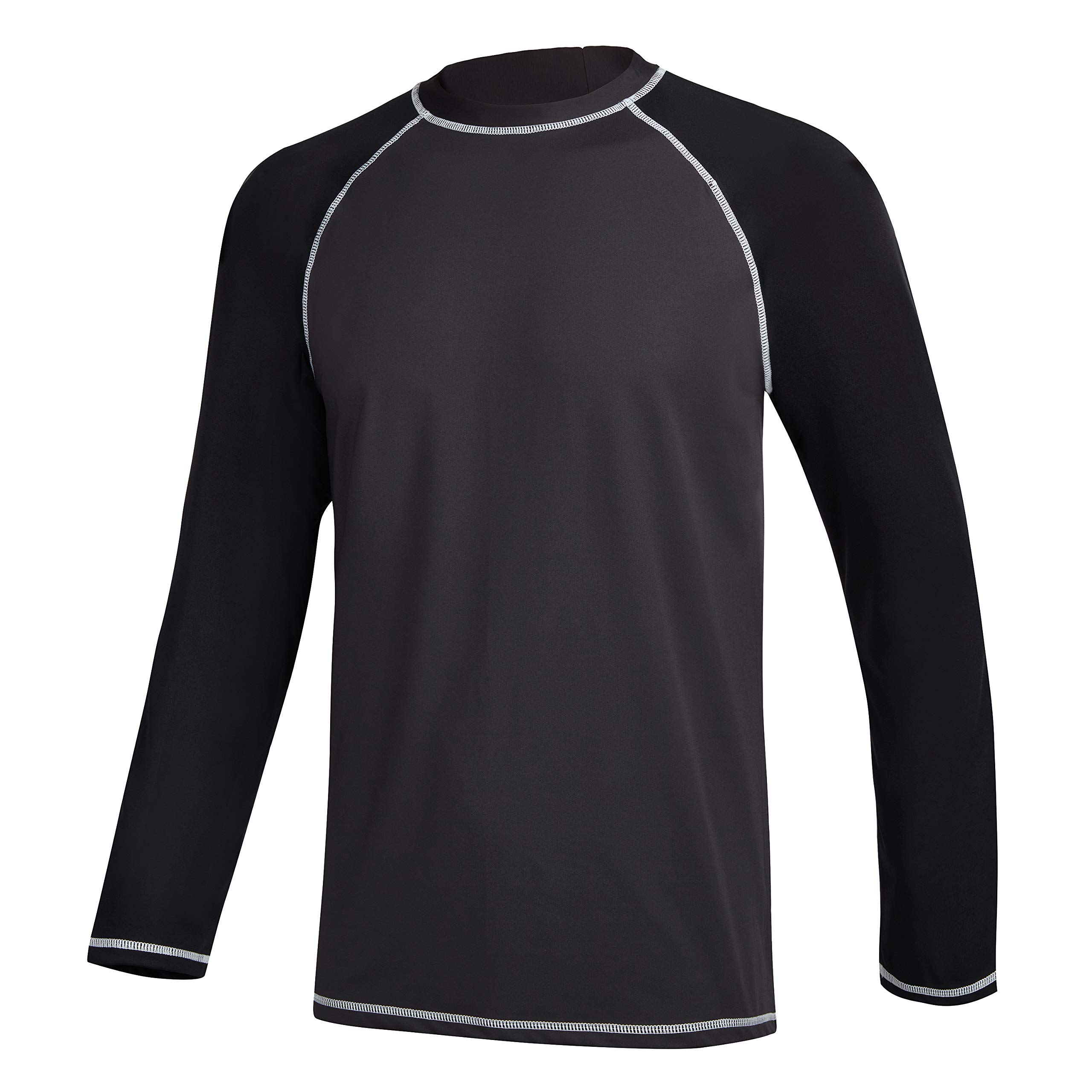 MILANKERR Men's Long Sleeve Athletic Workout Running T Shirts Rash Guard Swim Tee Loose fit UV Sun T Shirts UPF 50 XL(Chest: 43''- 45'') Gray Black by MILANKERR