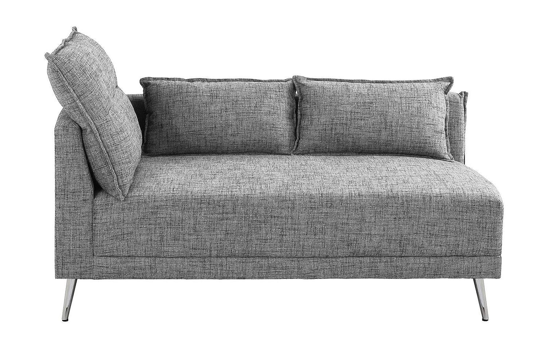 Upholstered 55.9 inch Modern Living Room Linen Chaise Lounge Light Grey