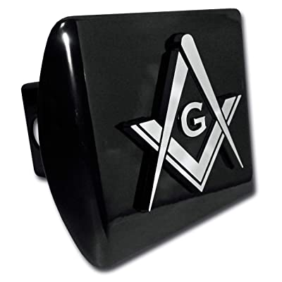 Elektroplate Masonic Square and Compasses Black All Metal Hitch Cover: Automotive