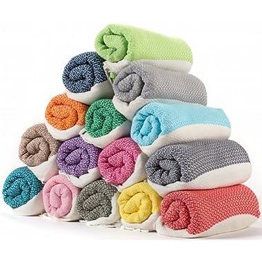 (SET OF 6) - LaModaHome Diamond Weave Turkish Cotton Bath Beach Hammam Towel Peshtemal Blanket, Random Color