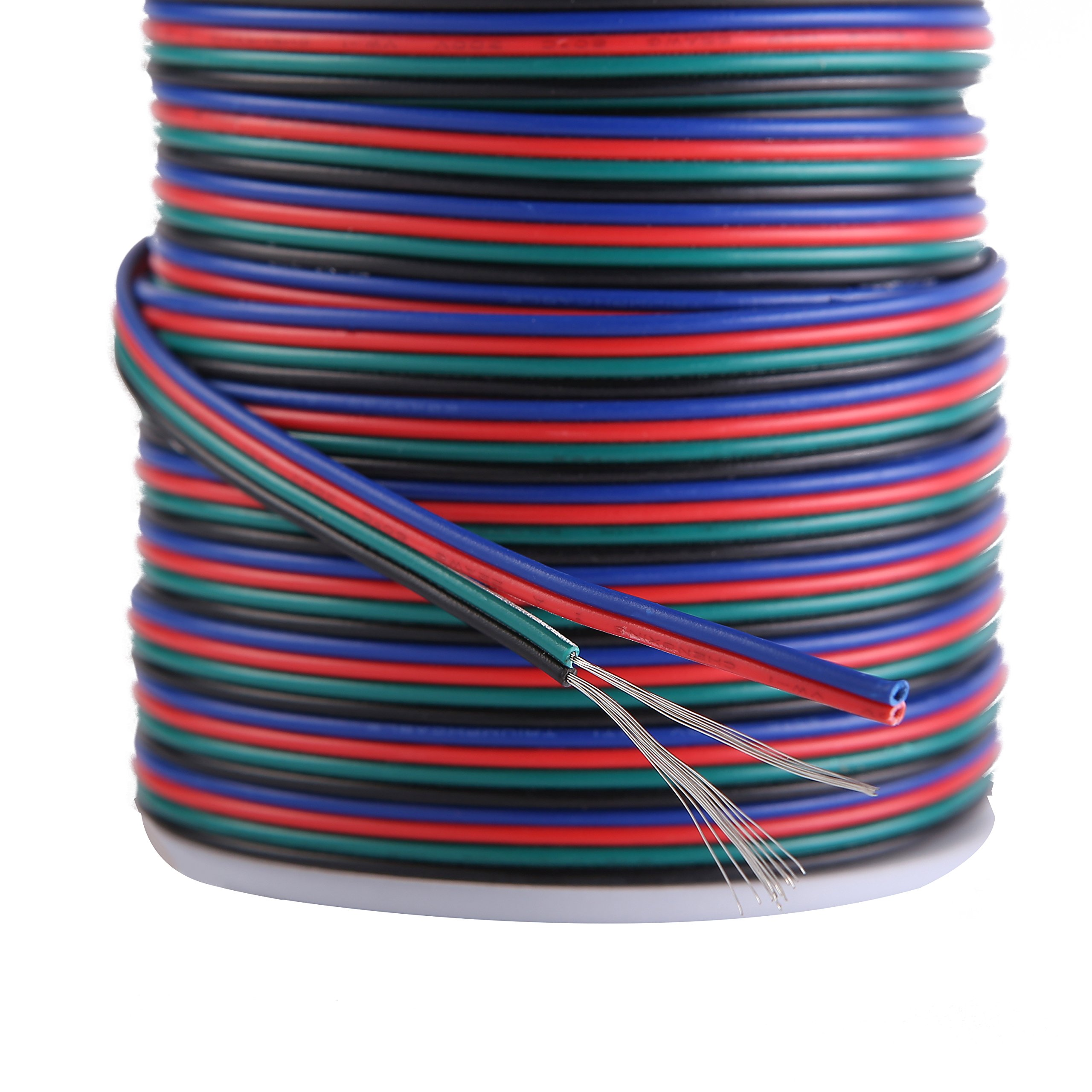 C-able 100ft(30.5m) 22 AWG 4Pin RGB Wire Extension Cable with Spool, Led Lights Wires Strip Extend Wire for 5050 3528, with 8PCS RGB Led Strip Connectors by C-able (Image #2)