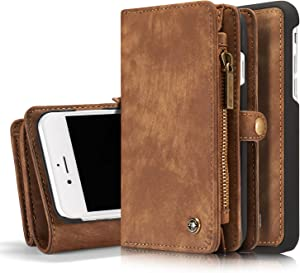 MOONORN iPhone 7 Plus/iPhone 8 Plus Wallet Case - Detachable Leather Phone Wallet Magnetic Flip Case Shockproof Cell Phone Case with Credit Card Slots (Brown)