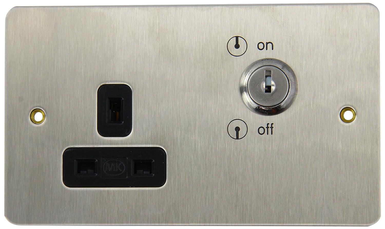 MK Edge K14355BSSB 13A 1-Gang Lockable Double Pole Switch Socket ...