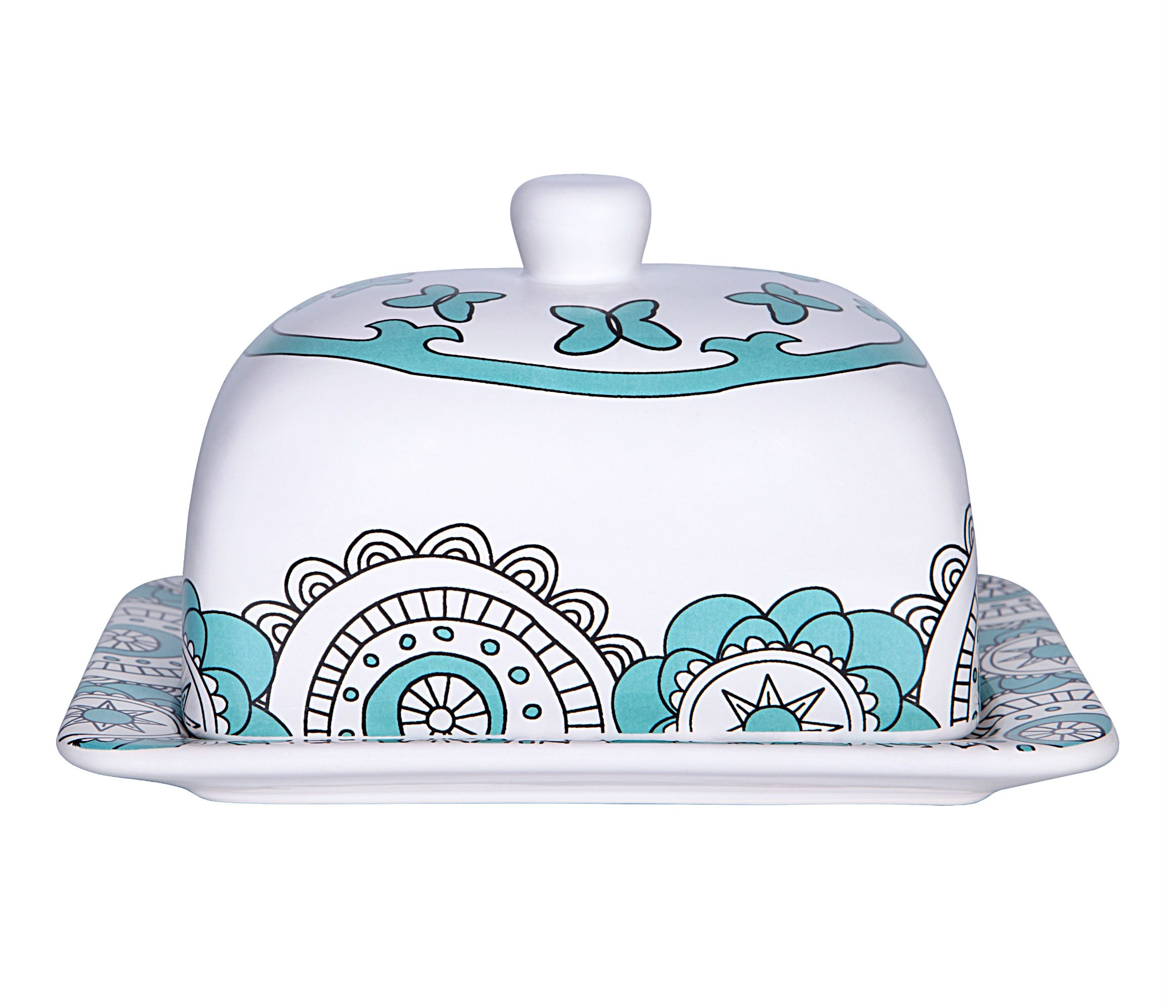 Butter Dish Keeper Large with Lid Cover, 7 Inch Porcelain, Holds Up to 2 Sticks of Butter, Mint Blue