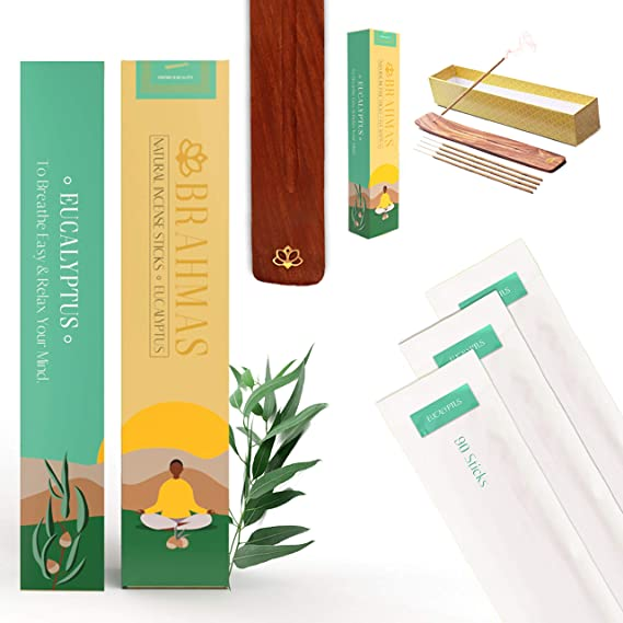 Natural Eucalyptus Incense Sticks [90 Pack with Holder] for Meditation, Focus, Cleansing & Positive Vibes | Charcoal Free Incense Sticks Made with Herbal Vedic Masala & Pure Essential Oils for...