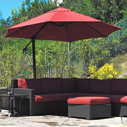 Amazon.com : Galtech Sunbrella Easy Tilt 11-ft. Offset Umbrella with ...