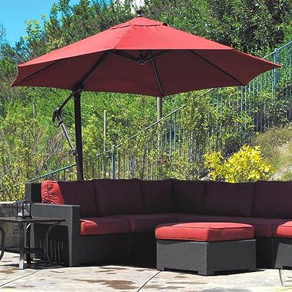 Galtech Sunbrella Easy Tilt 11 Ft. Offset Umbrella With Wheeled Base