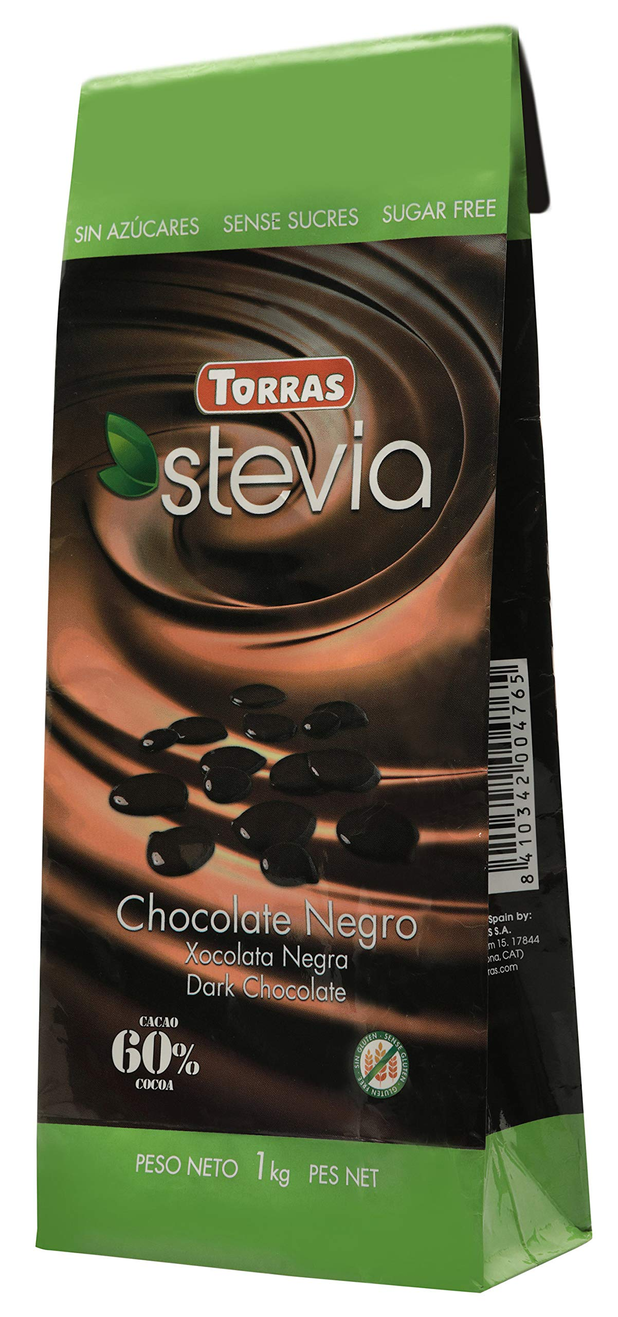 Torras Sugar Free and Gluten Free Stevia Large Dark Chocolate Chip/Drop Bag - 60% Cocoa (35 Ounces/1 Kilogram Pack) by Torras