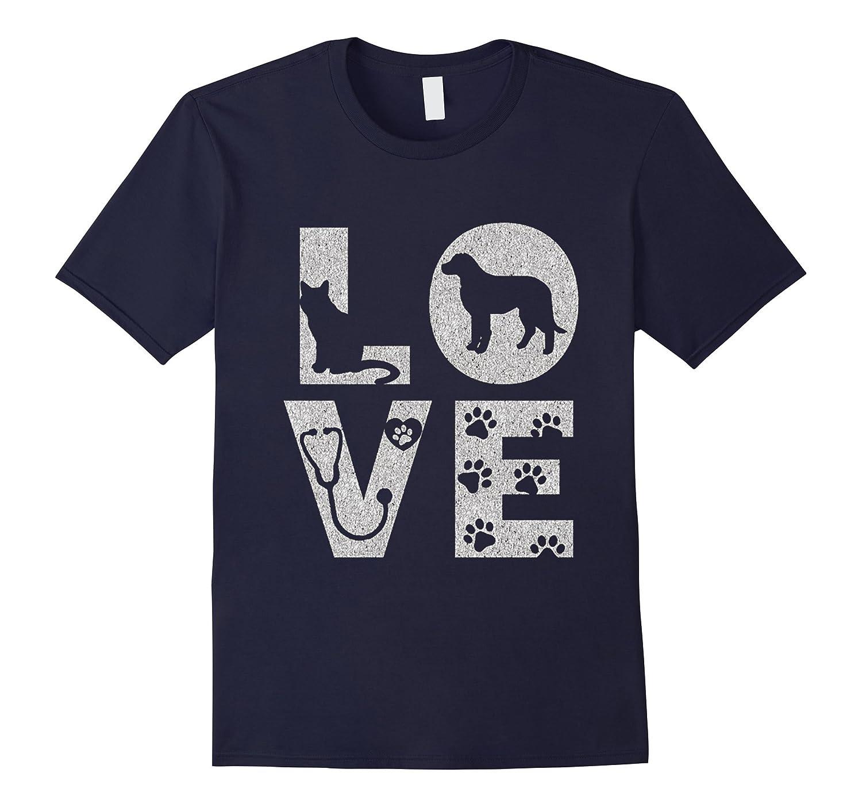 Veterinarian Love Animals Doctor Distressed T-Shirt-TD