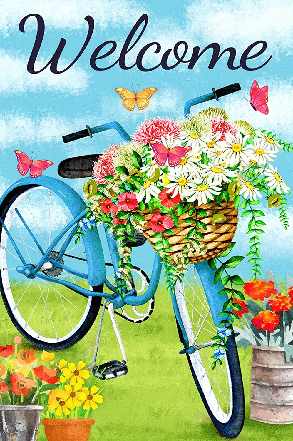 "Texupday Welcome Blue Bicycle Flower Blooms Butterfly Decoration Spring Garden Flag Outdoor Yard Flag 12"" x 18"""