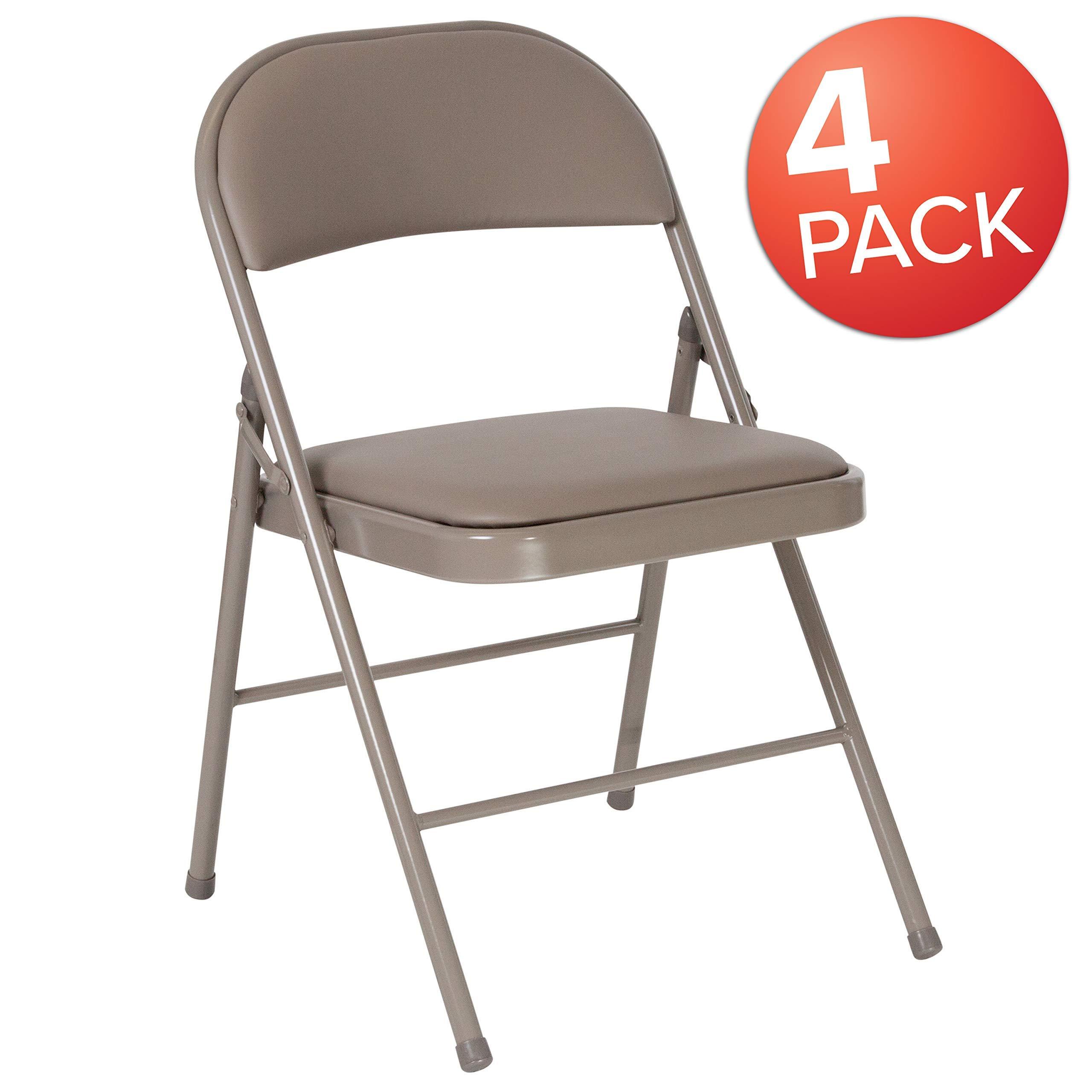 Flash Furniture 4 Pk. HERCULES Series Double Braced Gray Vinyl Folding Chair (Renewed) by Flash Furniture