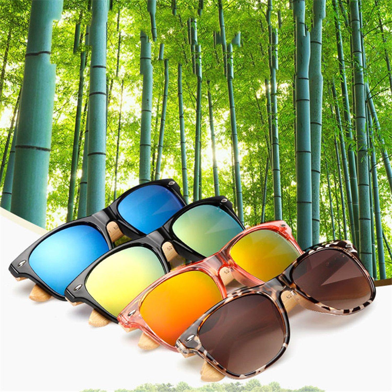 Amazon.com: Sol de bambú anteojos de sol tonos madera Retro ...