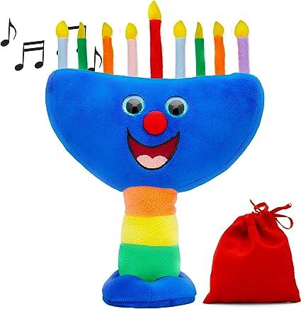 Musical Dreidel Hanukkah Gifts for Kids Plays Two Dreidel Songs Aviv Judaica Plush Dreidel Toy