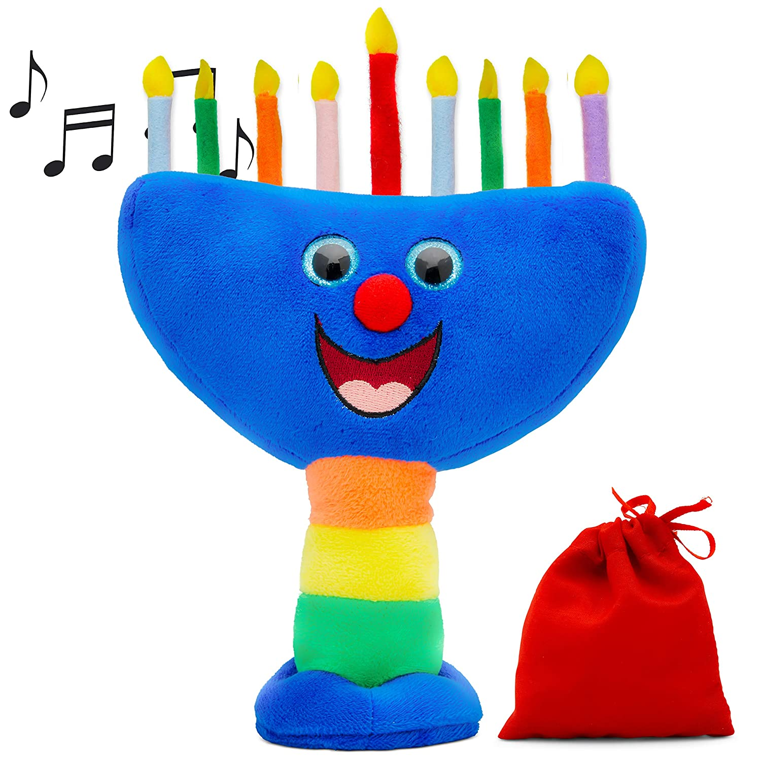 Aviv Judaica Plush Hanukkah Menorah Musical Menorah Plays 2 Classic Hanukkah Melodies Includes Removable Candles Candle Bag
