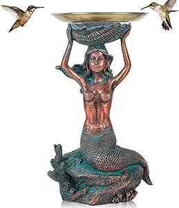 Mermaid Light with Plates Mermaid Solar Garden Statues Bird Bath Feeder Fairy Outdoor Resin Pet Figures Tray Key Organizer Sea Animal Beach Statue Ornament for Patio Lawn Yard Display Decor