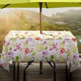 Lamberia Rectangle Oblong Tablecloth with Umbrella Hole and Zipper for Patio Garden, Outdoor Tablecloth Waterproof Spill-Proo