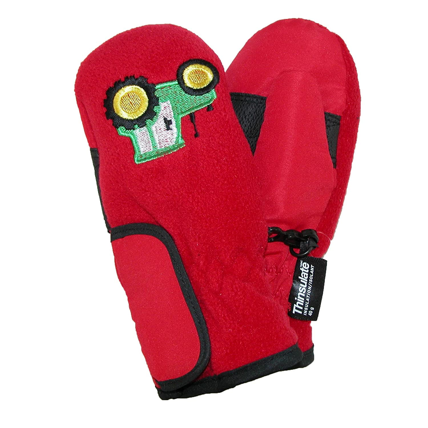 Grand Sierra Toddlers 2-4 Embroidered Waterproof Mittens, Red with Tractors