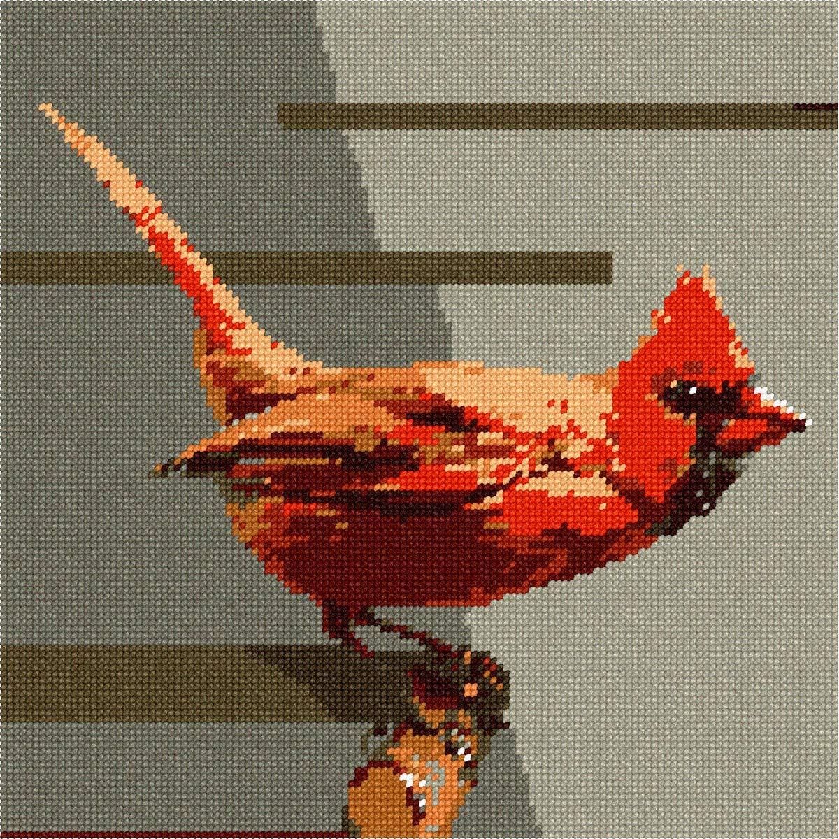 Large Needlepoint Kit pepita Cardinal