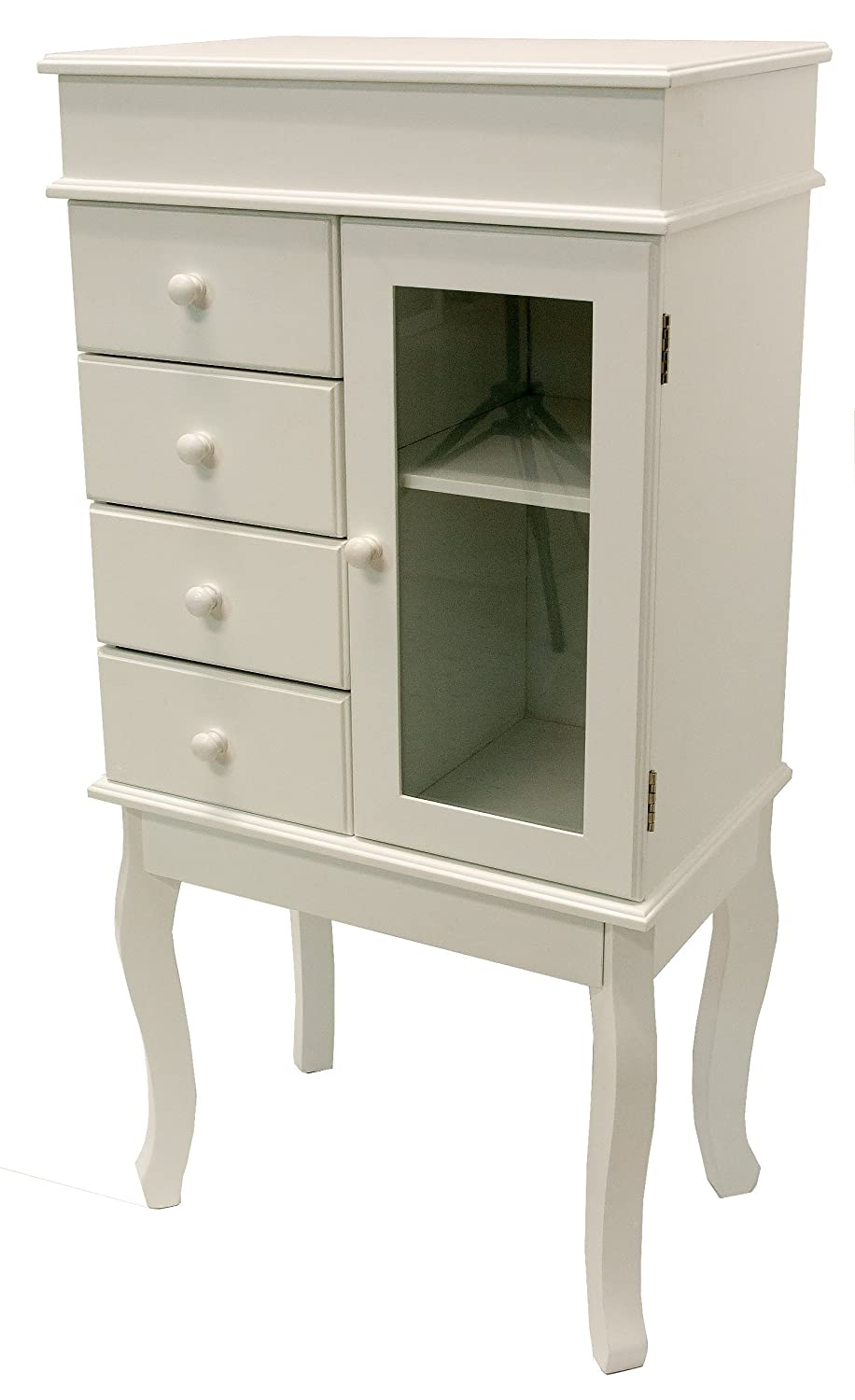A68192 White Jewellery Armoire Rayes Imports