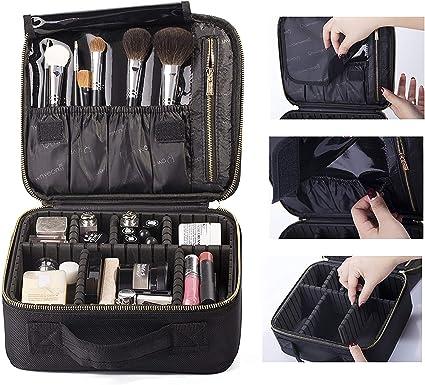 Bolso cosmético Profesional de Rownyeon, Estuche de Tren de Maquillaje Bolsa de Maquillaje de Viaje 10 Maquillaje portátil Artista Organizador Pinceles de Maquillaje Bolso pequeño: Amazon.es: Equipaje