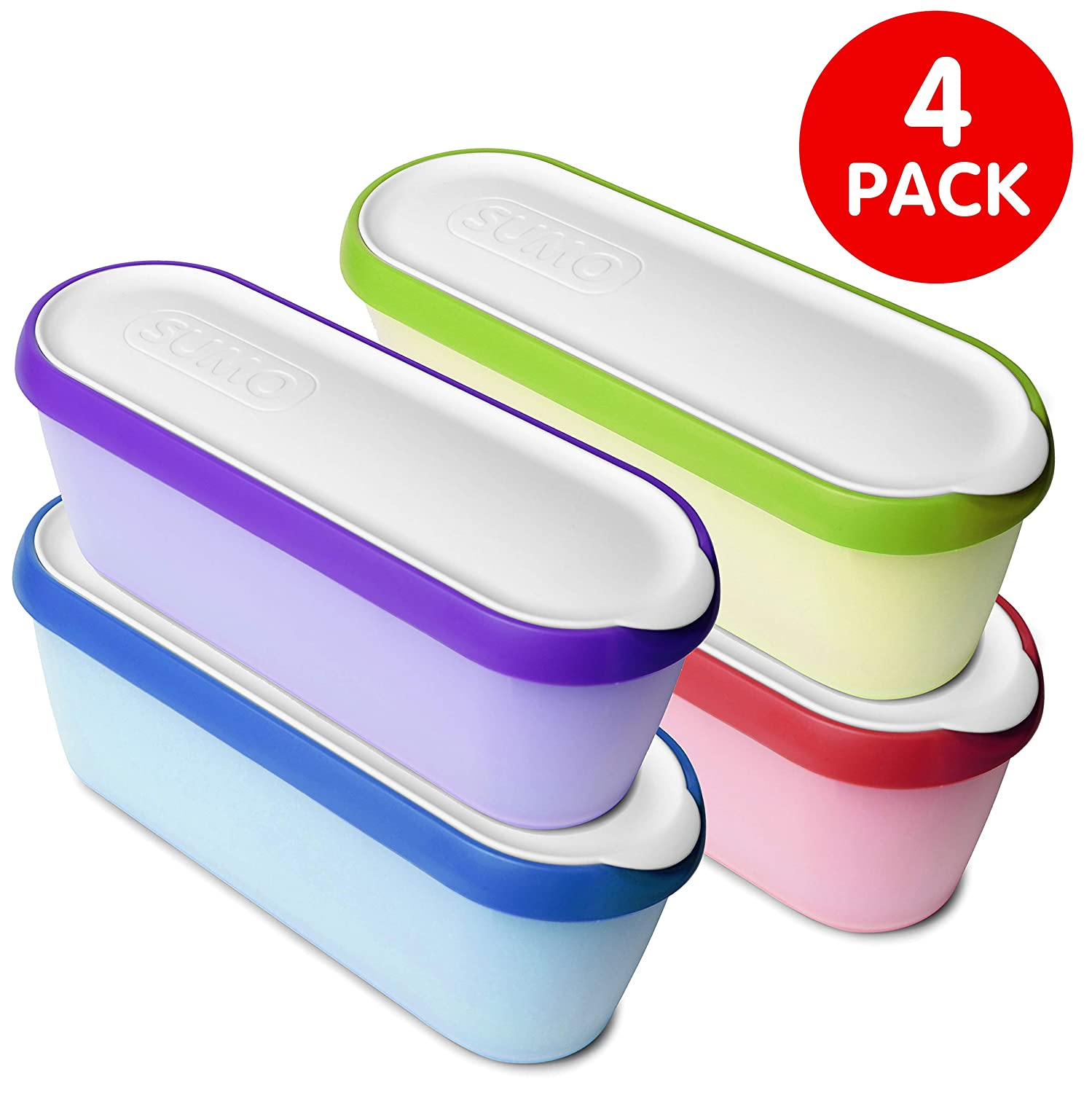 SUMO Ice Cream Containers: Insulated Ice Cream Tub for Homemade Ice-Cream, Gelato or Sorbet - Dishwasher Safe - 1.5 Quart Capacity [Rainbow, 4-Pack]