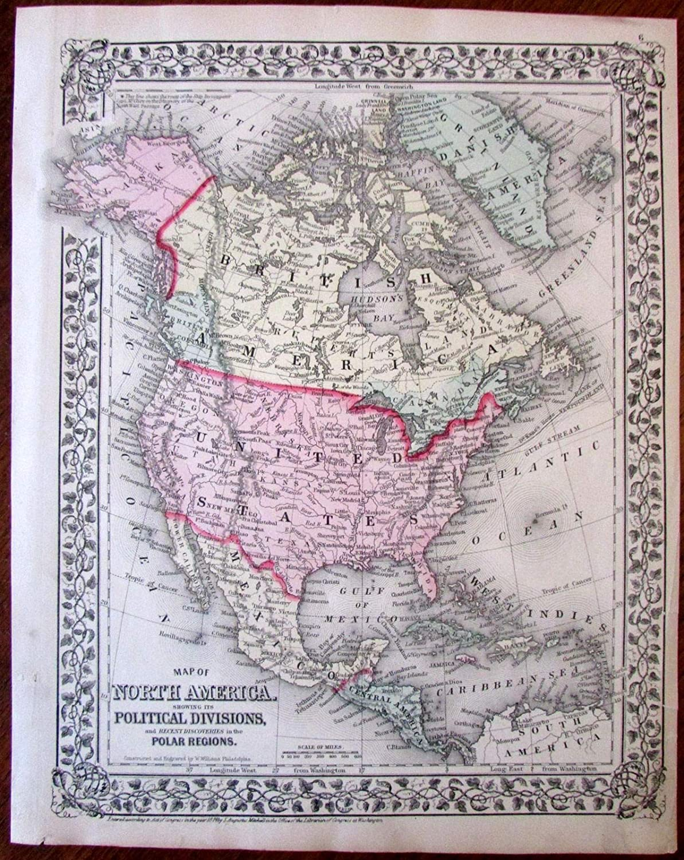 Amazon.com: North America United States Canada Alaska 1874 ...
