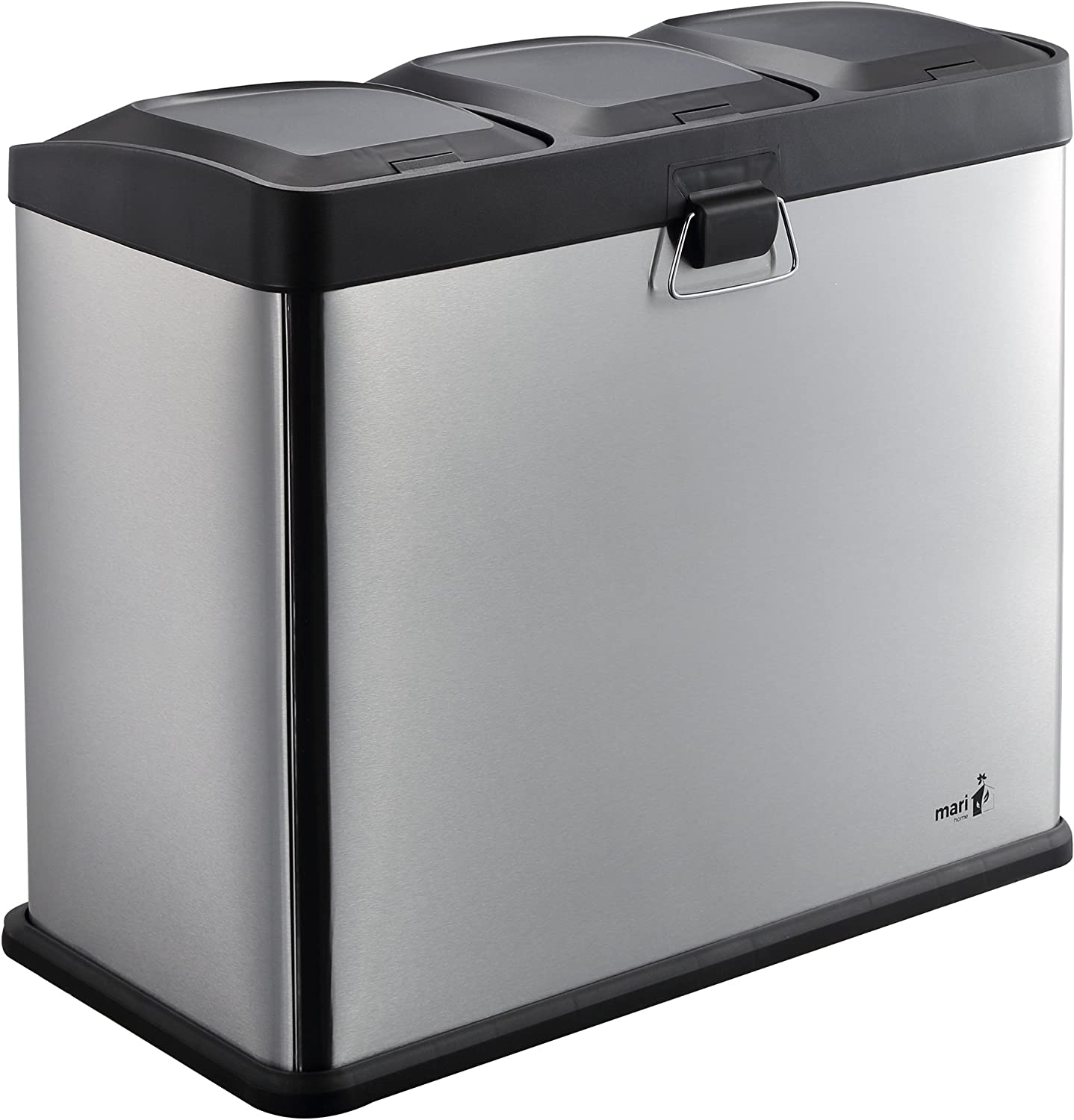 Great for Kitchen Office /& Home Fingerprint Proof Trash Bins with Pedal /& Inner Buckets Stainless Recycling Bin with 3 Compartments MARI HOME Large Rubbish Bin Triple Waste Bin 18L X 3 54L